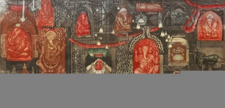 Seema Shah | Ganesh With Vahan Printmaking by artist Seema Shah | Printmaking Art | ArtZolo.com