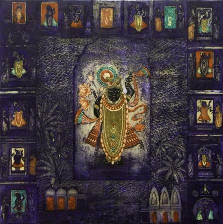 Seema Shah   Shreenath Ji Printmaking by artist Seema Shah   Printmaking Art   ArtZolo.com