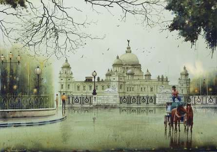 Cityscape Watercolor Art Painting title 'An Afternoon In Kolkata 2' by artist Arup Lodh