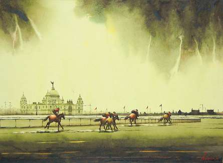 Cityscape Watercolor Art Painting title 'Practice Hours 1' by artist Arup Lodh