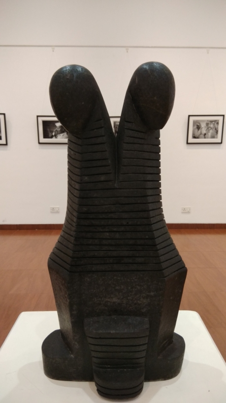 Black Basalt Stone Sculpture titled 'Male And Female' by artist Hariram Phad