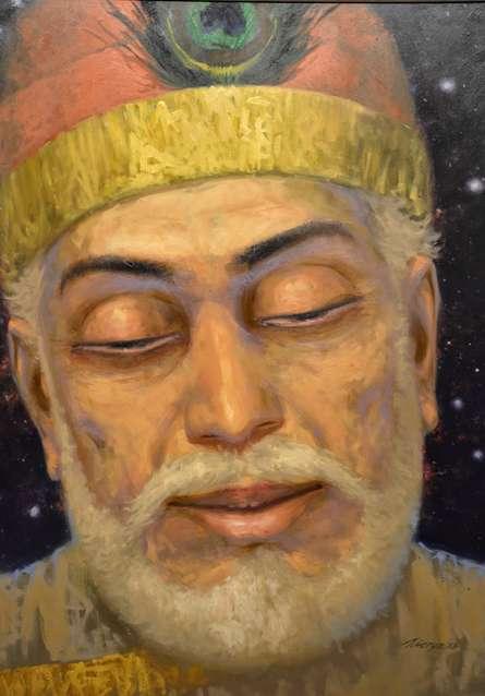 Figurative Oil Art Painting title 'Das Kabir Hari Ke Gun Gaave' by artist Abhishek Acharya