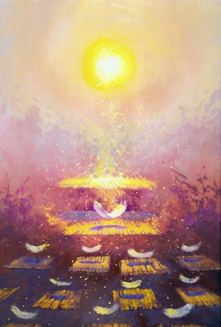 contemporary Oil Art Painting title Guru Ki Karni Guru Janega by artist Abhishek Acharya