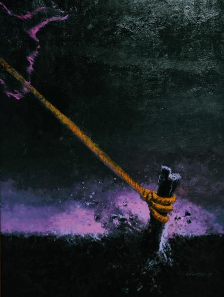 contemporary Oil Art Painting title Yam Ke Doot Bade Mazaboot by artist Abhishek Acharya