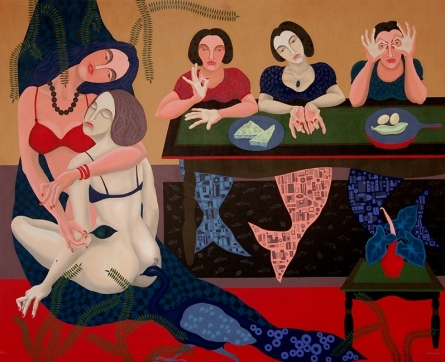 Figurative Acrylic Art Painting title 'The Vortex Of Feminine' by artist Pradipta Chakraborty