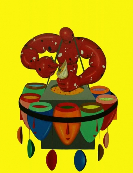 Pop Art Acrylic Art Painting title 'Mixture' by artist Jayanta Bhattacharya