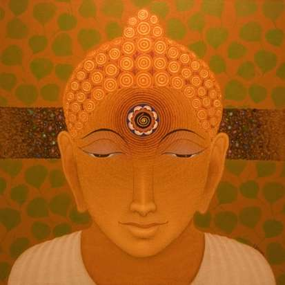 Bhiva Punekar | Acrylic Painting title Gautama Buddha on Canvas | Artist Bhiva Punekar Gallery | ArtZolo.com