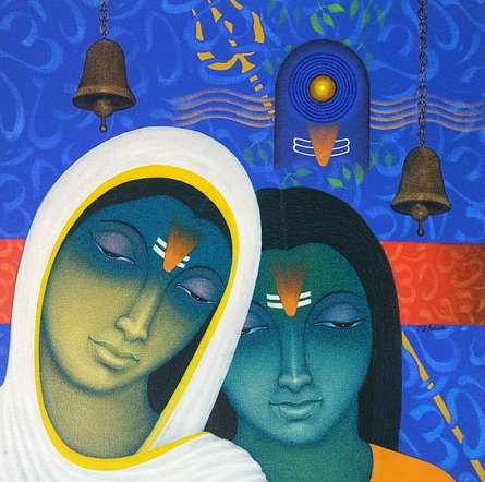 Religious Acrylic Art Painting title 'Spiritual Splendour 1' by artist Bhiva Punekar
