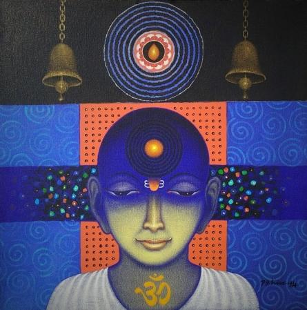 Religious Acrylic Art Painting title 'Spiritual Splendour 3' by artist Bhiva Punekar
