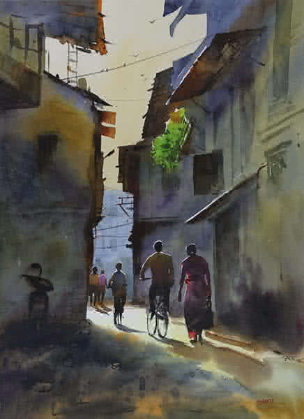 Kishor Nadavdekar | Watercolor Painting title Good Morning on Paper | Artist Kishor Nadavdekar Gallery | ArtZolo.com