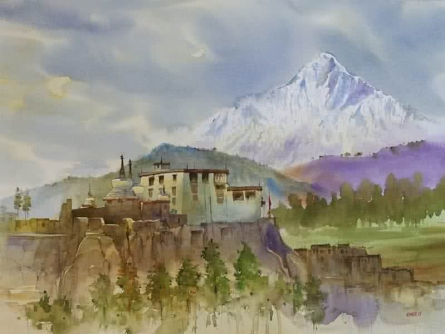 Landscape Watercolor Art Painting title 'Ladakh' by artist Kishor Nadavdekar