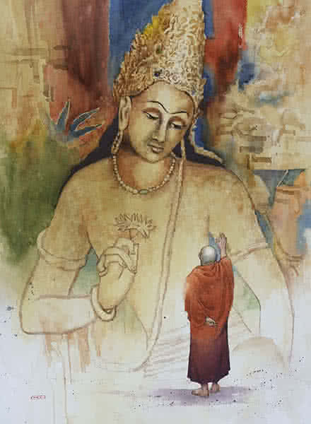 Religious Watercolor Art Painting title 'Sparsh' by artist Kishor Nadavdekar