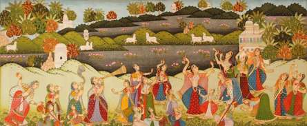 Traditional Indian art title Dancing For Krishna Pichwai Painting on Cloth - Pichwai Paintings