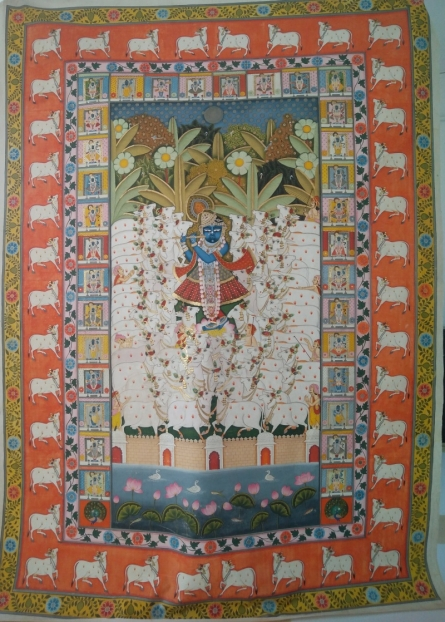 Traditional Indian art title Gopaastami Festival Festival Of Cows Pic on Cloth - Pichwai Paintings