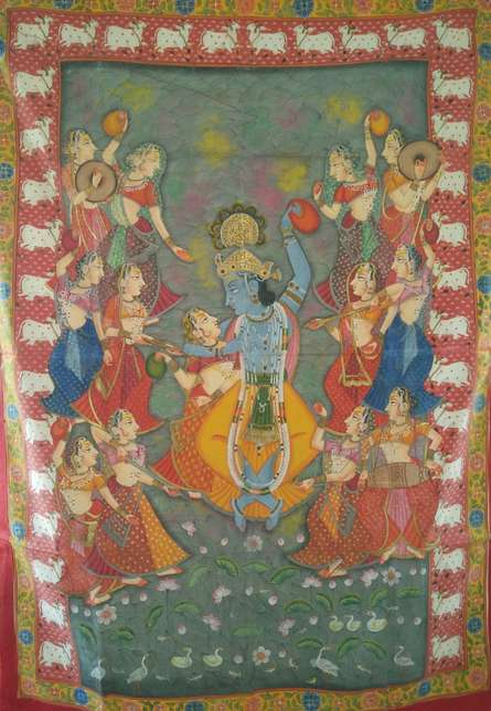 Traditional Indian art title Holi Festival In Pond Pichwai Painting on Cloth - Pichwai Paintings
