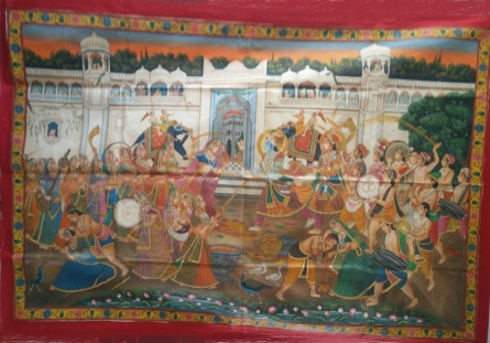 Traditional Indian art title Holi Festival Of Krishna Radha Pichwai P on Cloth - Pichwai Paintings