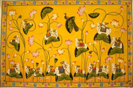 Traditional Indian art title Incarnations Of Cows Pichwai Painting on Cloth - Pichwai Paintings