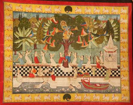 Traditional Indian art title Jaikrida Pichwai Painting on Cloth - Pichwai Paintings
