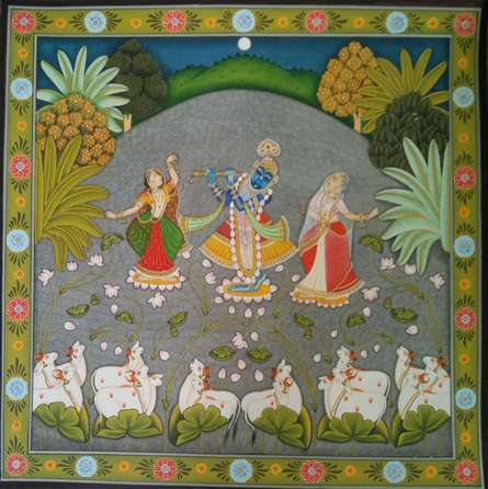 Traditional Indian art title Jal Kamal Pichwai On Sharad Poornima Pic on Cloth - Pichwai Paintings