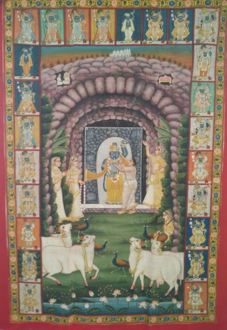 Traditional Indian art title Morning Darshana Pichwai Painting on Cloth - Pichwai Paintings