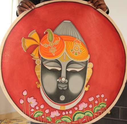 Yugdeepak Soni | Pichwai Traditional art title Shrinath Ji Face Attire Pichwai Painting on Cloth | Artist Yugdeepak Soni Gallery | ArtZolo.com