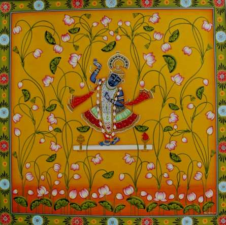 Traditional Indian art title Shrinathji Kamal Pichwai Painting on Cloth - Pichwai Paintings