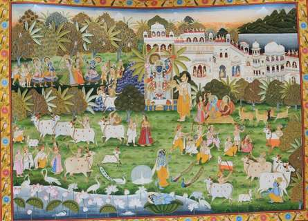 Yugdeepak Soni | Pichwai Traditional art title The City Of Krishna Gokul Pichwai Painti on Cloth | Artist Yugdeepak Soni Gallery | ArtZolo.com