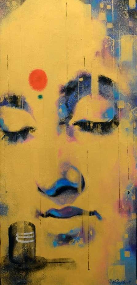 Religious Acrylic Art Painting title 'Bhakti' by artist Devendra Nimbargikar