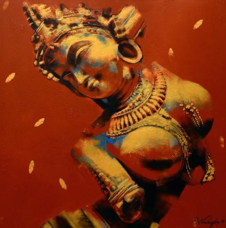 Religious Acrylic Art Painting title 'Nartika' by artist Devendra Nimbargikar