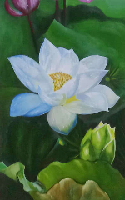 Nature Oil Art Painting title 'Lotus' by artist Sumithran O M Oravanthuruth House