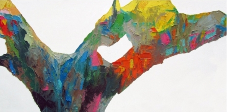 Abstract Oil Art Painting title 'Eucalyptract 3' by artist Abhishek Kumar