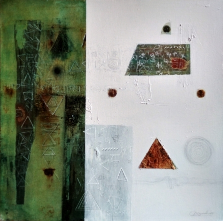 Abstract Mixed-media Art Painting title 'Memory Of Old Home' by artist Kaushlendra Pratap Singh