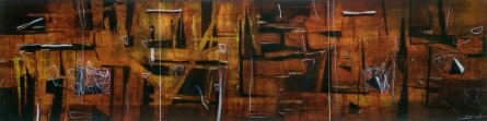 Abstract Mixed-media Art Painting title 'Surrounding Ganges At Night' by artist Kaushlendra Pratap Singh