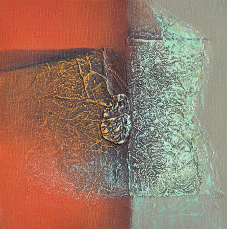 Abstract Mixed-media Art Painting title 'Untitled 11' by artist Sanju Jain