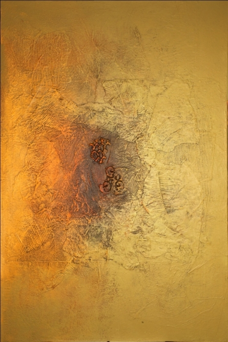 Abstract Mixed-media Art Painting title 'Untitled 2' by artist Sanju Jain