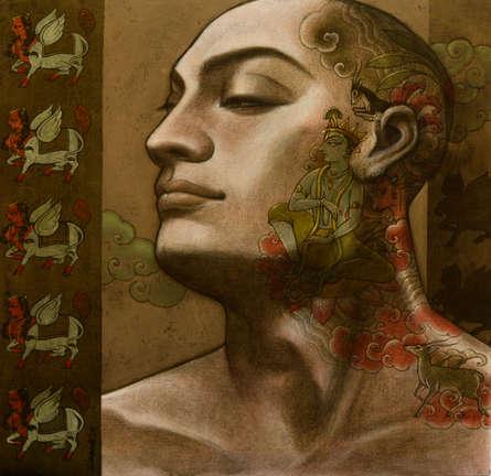 Sukanta Das | Mixed-media Painting title Avisar 4 on Canvas | Artist Sukanta Das Gallery | ArtZolo.com