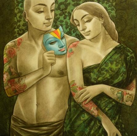 Sukanta Das | Mixed-media Painting title Avisar 5 on Canvas | Artist Sukanta Das Gallery | ArtZolo.com