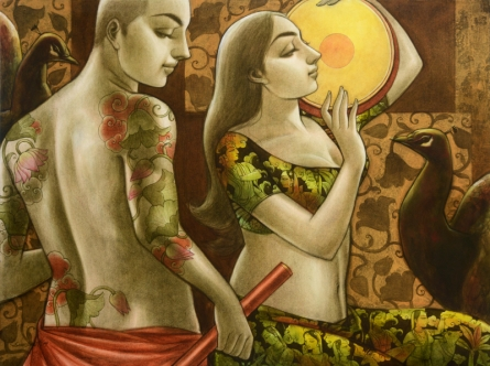 Figurative Mixed-media Art Painting title 'Avisarika 15' by artist Sukanta Das
