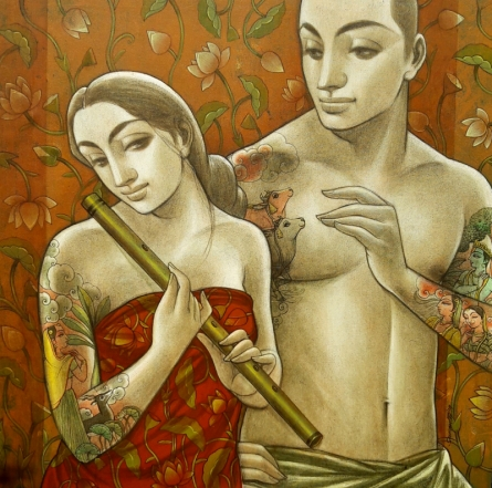 Sukanta Das | Mixed-media Painting title Couple 1 on Canvas | Artist Sukanta Das Gallery | ArtZolo.com