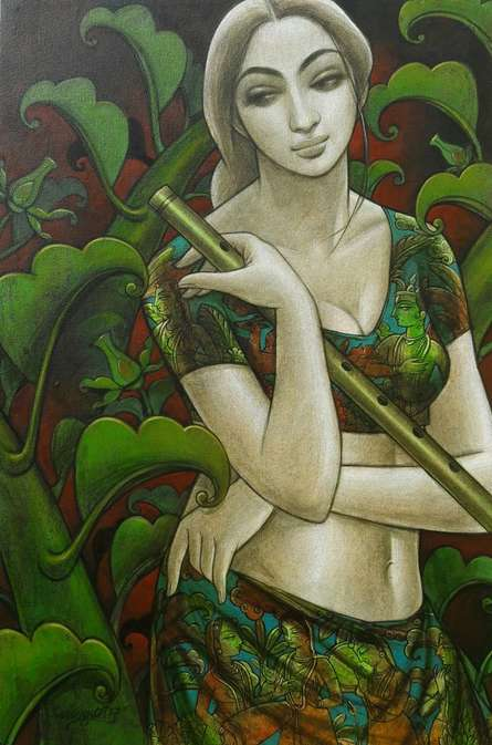 Figurative Mixed-media Art Painting title Radhika 1 by artist Sukanta Das