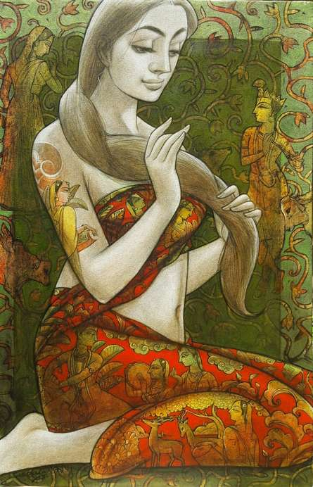 Figurative Mixed-media Art Painting title Radhika 2 by artist Sukanta Das