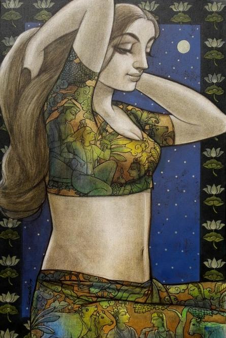 Radhika 8 | Painting by artist Sukanta Das | mixed-media | Canvas