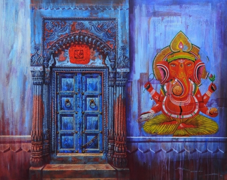 Religious Acrylic Art Painting title 'Door' by artist Anil Yadav