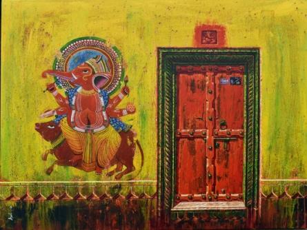 Religious Acrylic Art Painting title Lord Ganesha by artist Anil Kumar Yadav