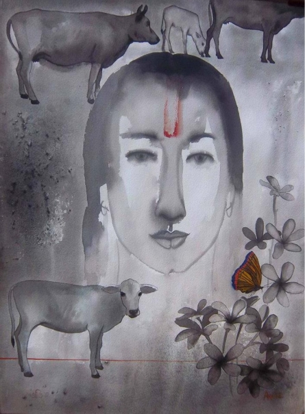 Mother | Painting by artist Avi Roy | ink-watercolor | Arches Paper