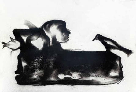 Figurative Charcoal Art Drawing title 'Untitled 12' by artist Milan Desai