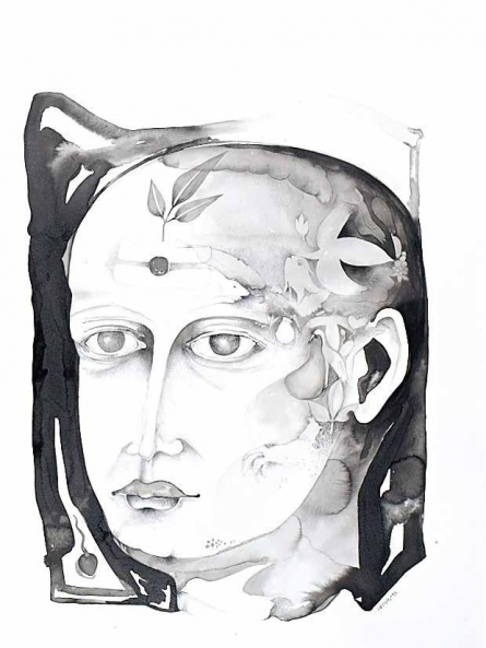 Figurative Ink-charcoal Art Drawing title Untitled 13 by artist Milan Desai