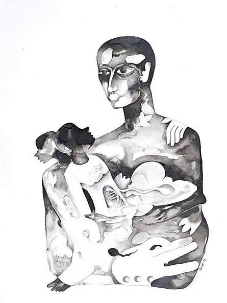 Figurative Ink-charcoal Art Drawing title 'Untitled 6' by artist Milan Desai
