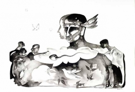 Figurative Ink Art Drawing title 'Untitled 9' by artist Milan Desai