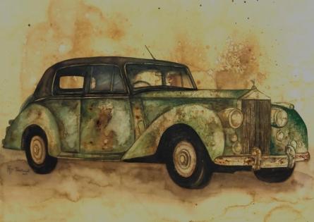 Transportation Coffee & watercolor Art Painting title 'Untitled 2' by artist Afza Tamkanat